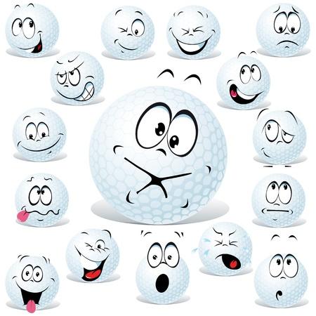 pelota caricatura: dibujos animados pelota de golf aislado en blanco con muchas expresiones faciales