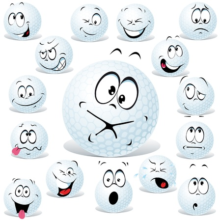 gesichtsausdruck: Golfball-Karikatur auf wei� mit vielen Mimik isoliert