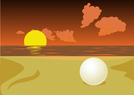 golf ball on the beach in sunset Stock Vector - 14092875