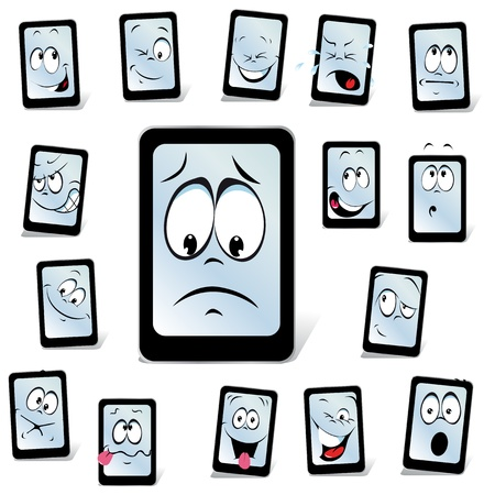 blank faces: smart phone with many expressions