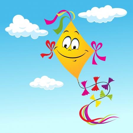 string together: kite cartoon on blue sky