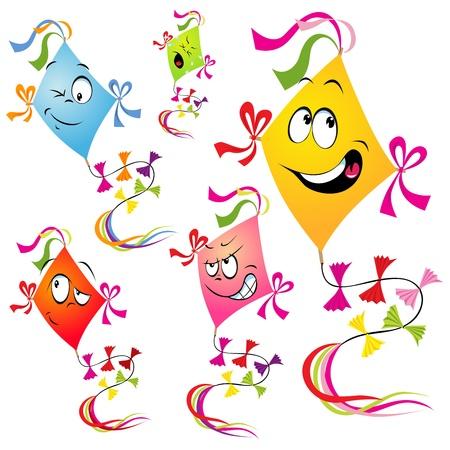 fly up: kites cartoon isolated on white background  Illustration