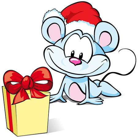 Mouse with Gift and Santa hat  Vector