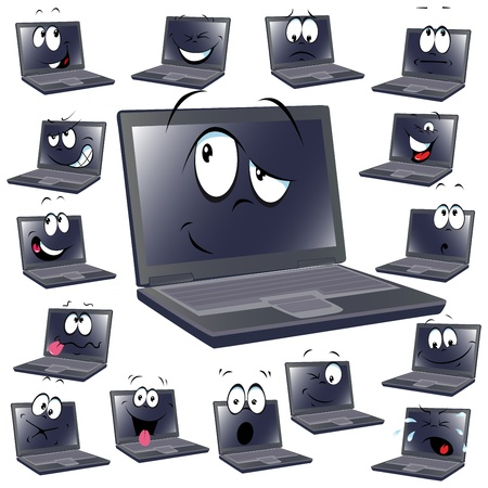 computer key: laptop cartoon isolated on white background