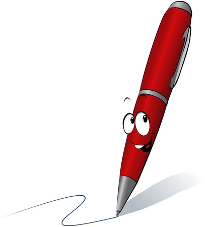 write: funny red pen cartoon writing  Illustration