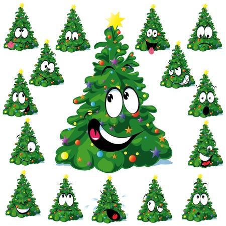 abeto: Árvore de Natal dos desenhos animados com estrela Ilustração