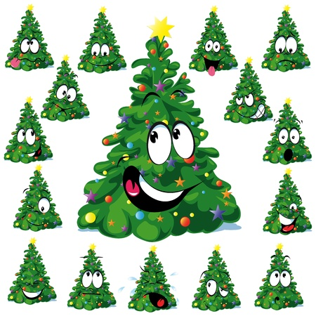 huge tree: Christmas tree cartoon with star  Illustration