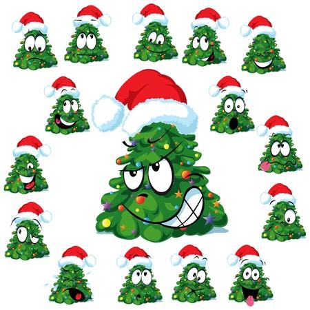 クリスマス ツリーとサンタのキャップ  イラスト・ベクター素材