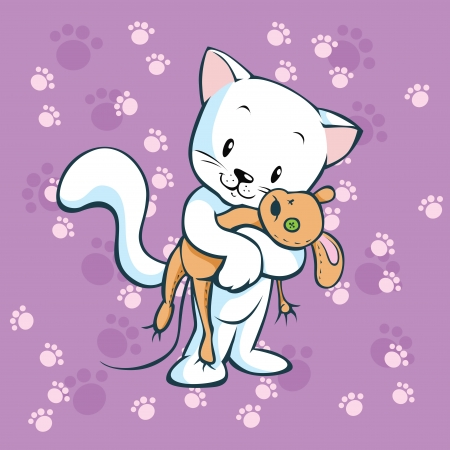 plush: cute kitty hold mouse