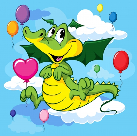 cute dragoon fly with balloons  Vector