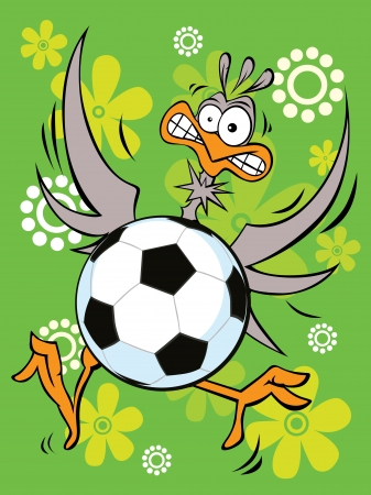 goalkeeper - ostrich play  Illustration