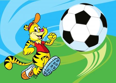 tigre caricatura: Tiger corre un balón de fútbol