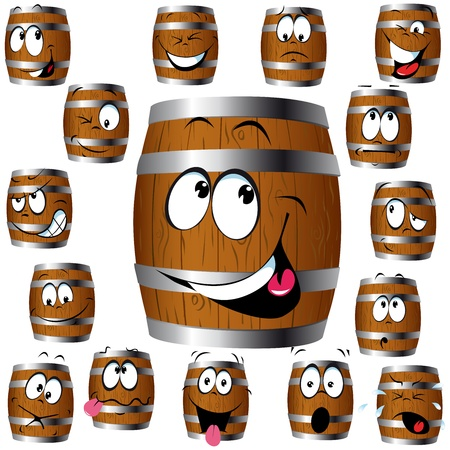 barrel cartoon with many