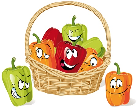 Colored paprika cartoon on basket Vector
