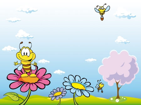 bee cartoon sitting on flower  Vector