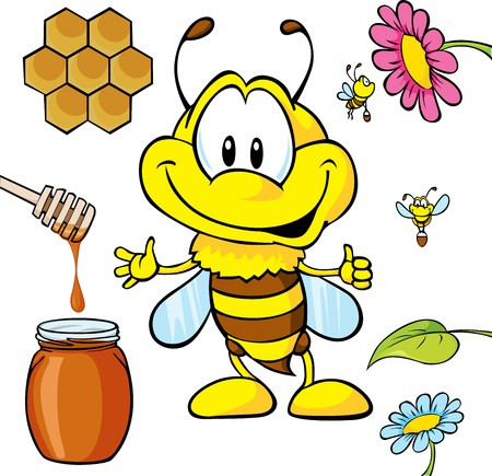 funny bee cartoon with honey Vector