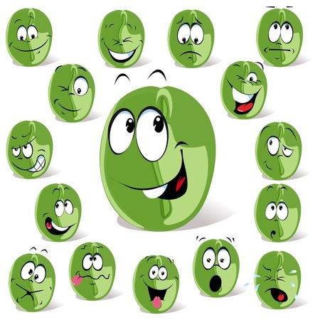 ejotes: caf� verde de dibujos animados de frijol Vectores