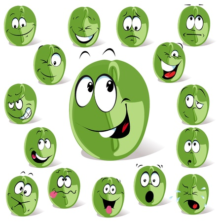 chicchi caff� su sfondo bianco: chicco di caff� verde del fumetto