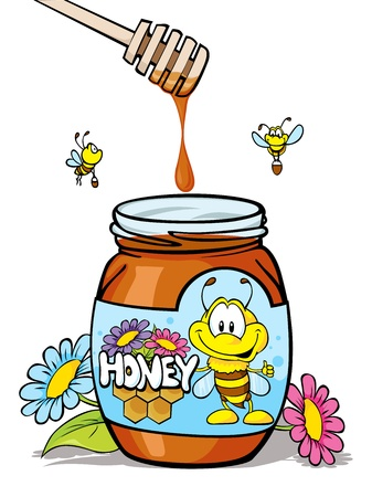 honey jar with wooden spoon Vector