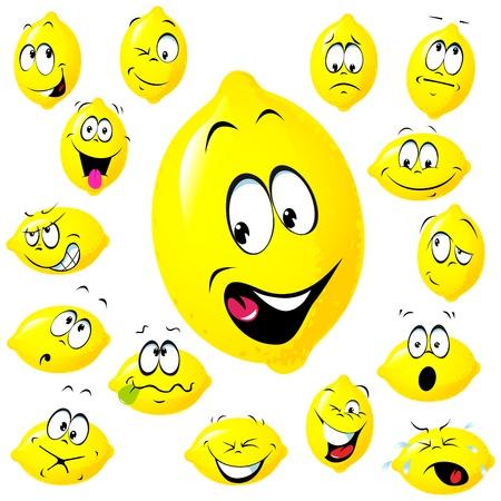 aliments droles: bande dessin�e de citron avec de nombreuses expressions faciales