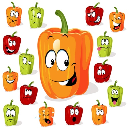 Colored paprika  pepper  cartoon with many expressions
