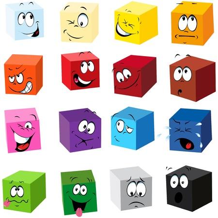 sentimientos y emociones: cubos de colores con muchos Vectores
