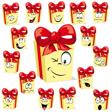 feel good: gift cartoon with many Illustration