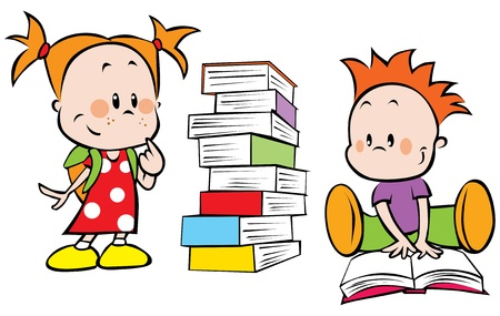 brother and sister cartoon: children with pile of books