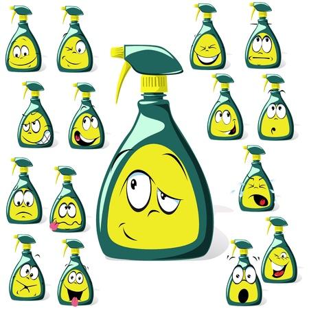 desinfectante: aerosol botella de dibujos animados Vectores