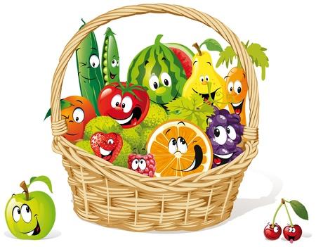 fruitmand: mand van gelukkige fruit en Stock Illustratie