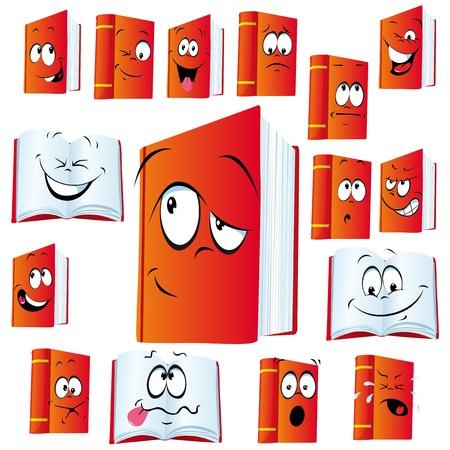 cara triste: libro rojo de dibujos animados con muchas expresiones