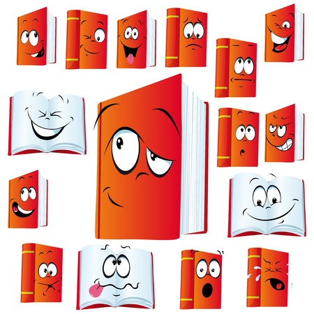 sad face: red book cartoon with many expressions