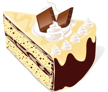 porcion de torta: caf� pastel con el chocolate blanco