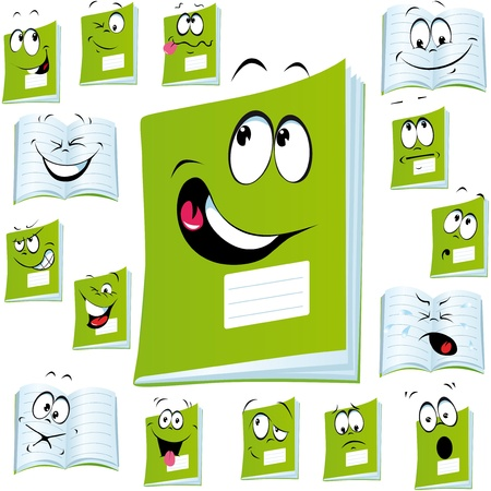 address book: exercise book cartoon with Illustration