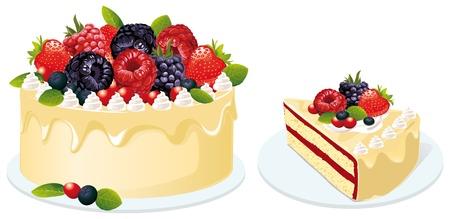 trozo de pastel: fruit cake Vectores