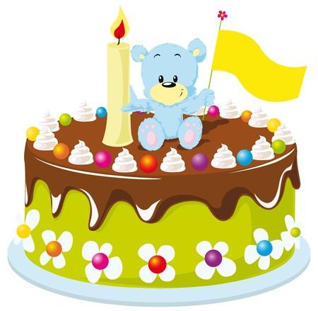 pastel feliz cumplea�os: torta de cumplea�os feliz para el beb� Vectores