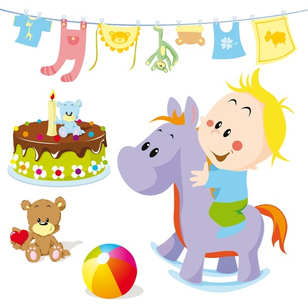 baby on rocking horse with toys Vector
