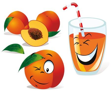 sliced fruit: peach tea or juice and still life  Illustration
