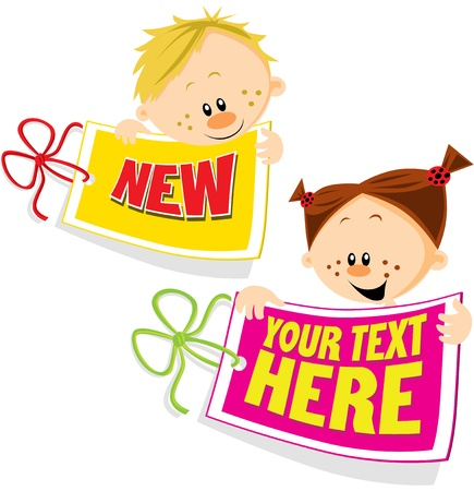tag with girl and boy Vector