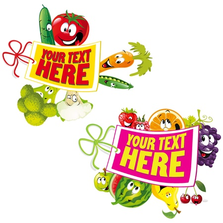 fruit and vegetable healthy tag Vector