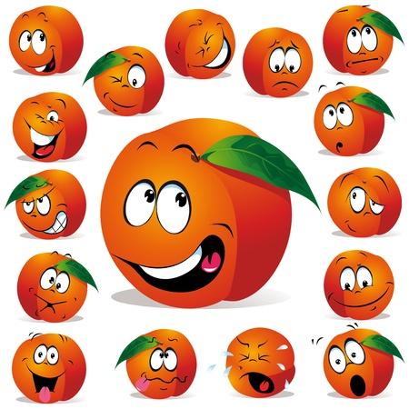 naranja caricatura: melocot�n historieta con muchos Vectores
