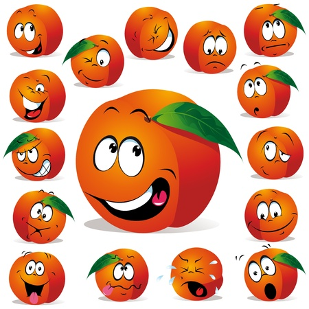 orange cartoon: peach cartoon with many  Illustration