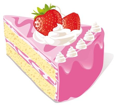 trozo de pastel: pastel de fresa