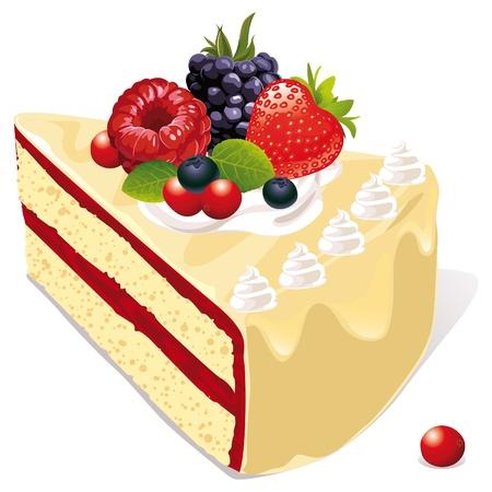 porcion de torta: blanco pastel de vainilla con fresas