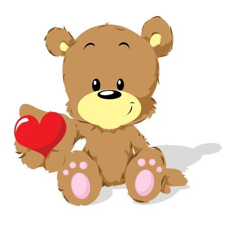 valentine bear with heart  Vector