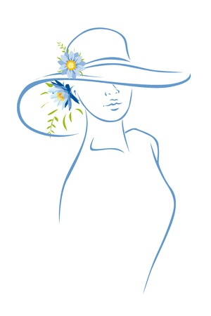 Woman with hat and flower  Vector