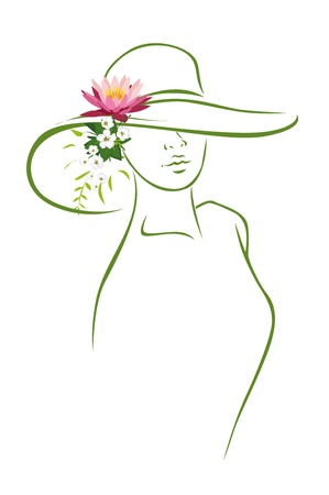 woman with hat and flower Stock Vector - 14951832
