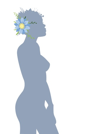 woman with blue flower Stock Vector - 14951725