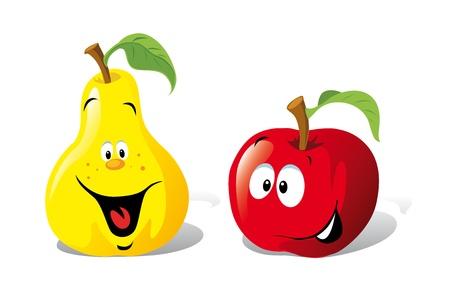 manzana caricatura: manzana y pera