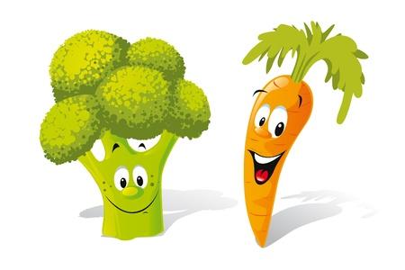 brocoli: brócoli y zanahoria Vectores